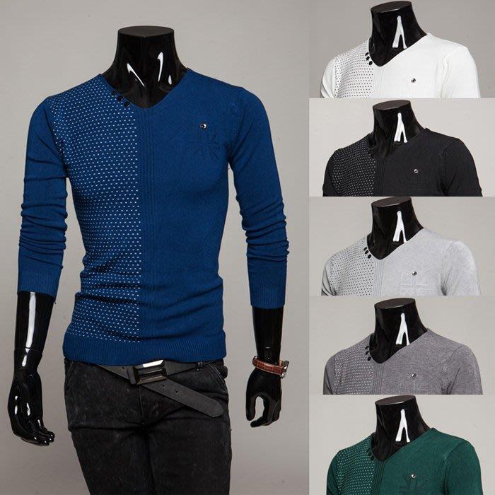 『潮范』 WS11 特價新款男士紐扣V領長袖毛衣 線衣 圖案針織衫 打底衫 圖案毛衣NRB3014