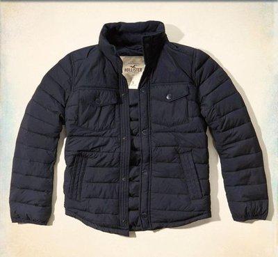 【天普小棧】HOLLISTER HCO Manhattan Beach Puffer Jacket立領鋪棉外套深藍S號