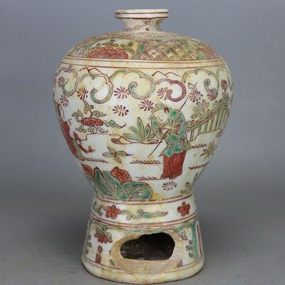 ㊣姥姥的寶藏㊣元代殘次品紅綠彩人物紋梅瓶 古玩古董瓷器