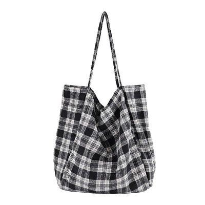 單肩包 帆布 手提包-大容量格紋印花休閒女包包3色73wo30☆奧莉芙☆
