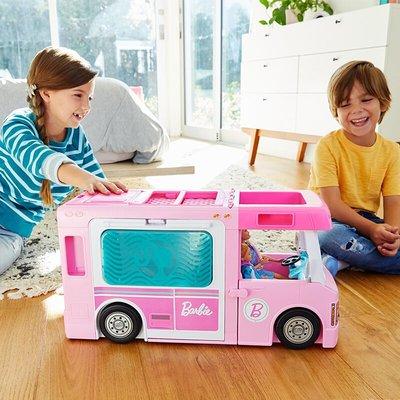 新風小鋪-正品芭比娃娃夢想房車多功能豪華露營車GHL93女孩禮物過家家玩具