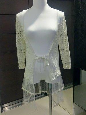 琳達購物中心-實品拍攝-波西米亞風針織開衫蕾絲衫-披肩女罩衫海邊沙灘比基尼衫外搭