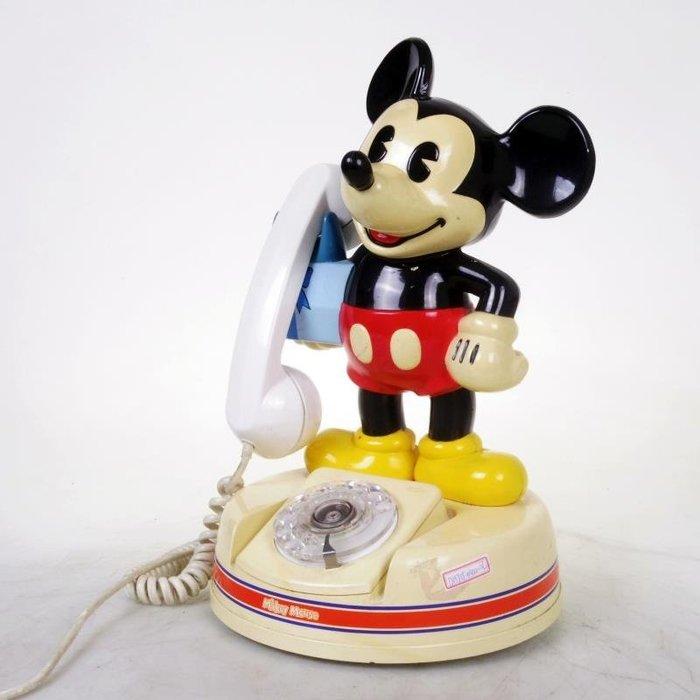 百寶軒 老物件古董迪士尼米老鼠旋轉撥盤撥號電話機撥號順暢9品 ZG1737