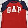 GAP男童Logo拼接袖圓領短袖T恤