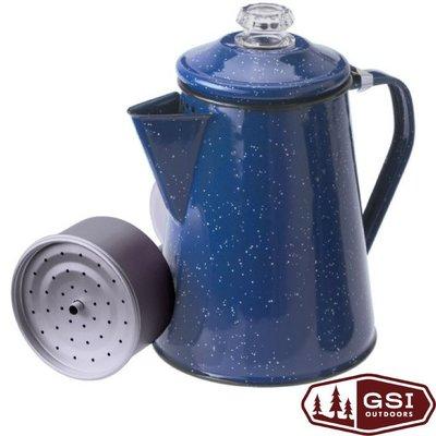 大里RV城市【美國 GSI】Percolator 8 cup 經典琺瑯咖啡壺8杯份(1.1L附濾網).開水壺 15154
