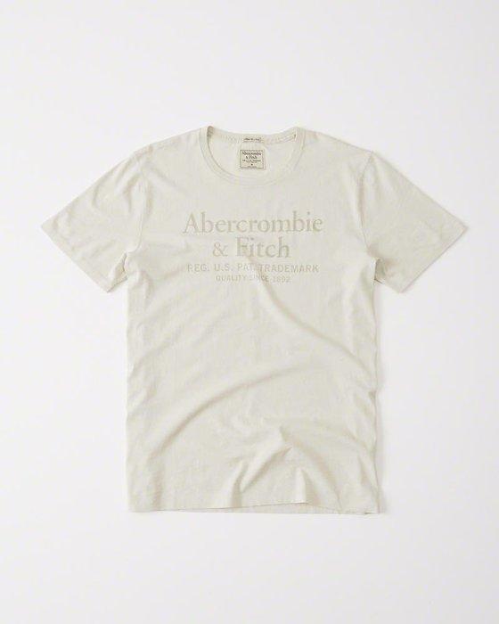 【蟹老闆】Abercrombie&Fitch A&F 美國麋鹿 LOGO 文字仿古 米色