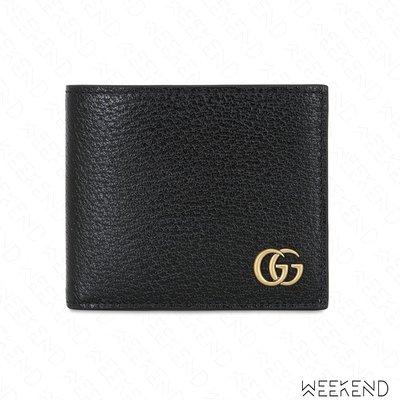 【WEEKEND】 GUCCI GG Marmont 經典 皮革 小牛皮 皮夾 短夾 黑色 428726