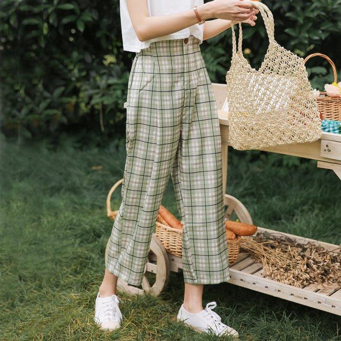 SeyeS 時尚復古基本款街頭格紋八分褲