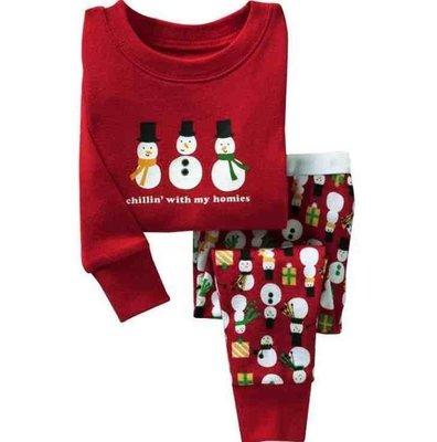 蜜寶貝*全新-2件套 聖誕款長袖雪人兩件套家居服 男女童套裝  尺寸90-130CM 約1-9歲內-0019