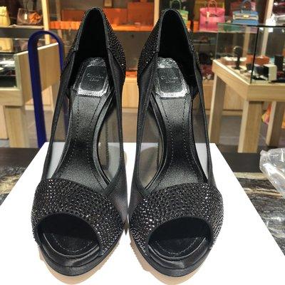 *金選名店*Dior*CD*出清價 黑色細鑽尖頭魚口高跟鞋 / 跟鞋 37號