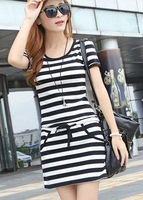 黑白條紋纯棉休連連身裙 (尺寸  S-3XL)