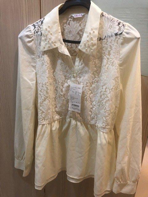 小花別針、專櫃品牌【c.o.l.z.a】米白色長袖雪紡上衣