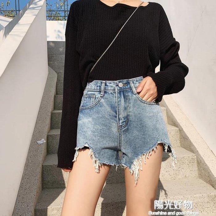 牛仔短褲女夏新款韓版chic寬鬆顯瘦闊腿高腰a字泫雅同款熱褲