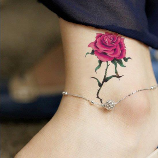 【萌古屋】帶葉玫瑰單圖327 - 男女防水韓風簡約紋身貼紙刺青貼紙K13