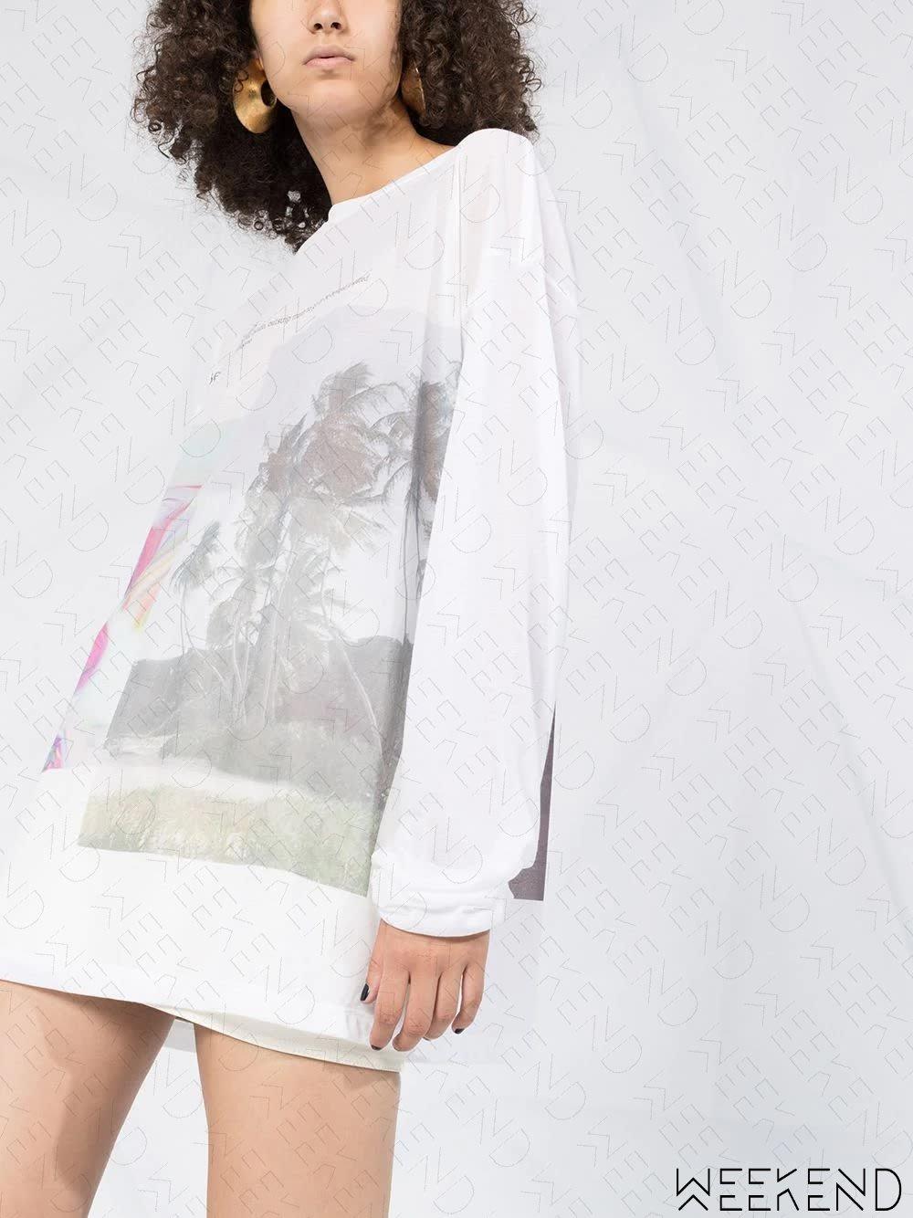 【WEEKEND】 FENTY Immigrant 印圖 寬鬆 長袖 T恤 上衣 白色 可當短洋 蕾哈娜