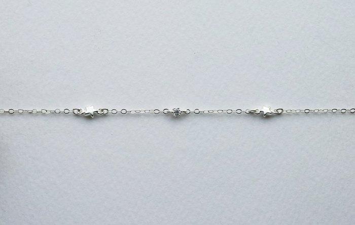[Le Bonheur Line] 幸福線 手工/銀鏈款 925純銀 銀小鑚+2個雙環星星