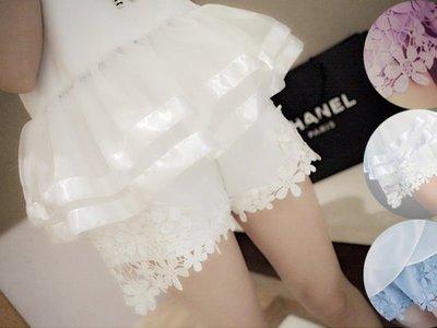 超哥小舖【P4015】精緻唯美 粉嫩糖果色系立體花朵鏤空下擺蕾絲鉤花短褲內搭褲 搭上衣短T