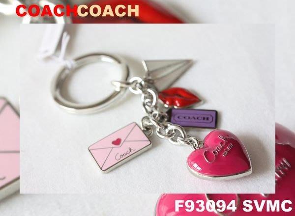 【COACH - 93094】100% 全新正品 經典款 鑰匙圈 愛情信籤 - 粉紅色系*情人精選