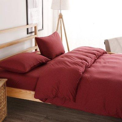 【抬績店家飾】新疆棉天竺針織 雙人成套六尺床包四件組(含被套/床包/2枕套) _囍宴紅(可訂做)