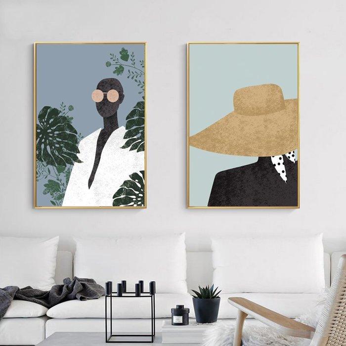 北歐現代簡約多彩創意人物女孩抽象客廳玄關裝飾畫微噴繪(9款可選)