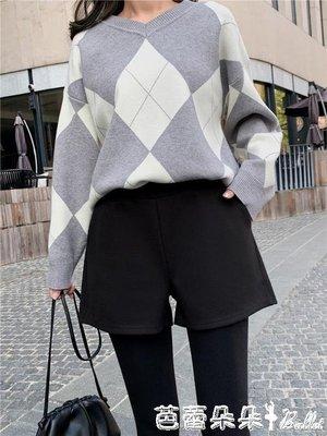 毛呢短褲女秋冬季2019新款高腰寬鬆寬管a字打底靴褲外穿休閒褲子