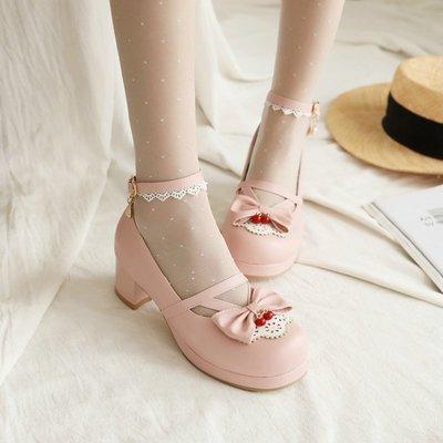 CD偽娘義乳交叉扣帶圓頭淺口大碼偽娘高跟鞋女裝大佬cd甜美變裝粗跟洛麗塔鞋