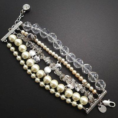 DYRBERG/KERN 透明 晶鑽 珍珠 水晶 多層次  手鍊 手環 來自丹麥的首飾品牌
