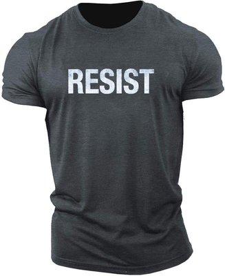 運動鍛煉休閑透氣字母RESIST歐美潮流健身男士T恤 Muscles