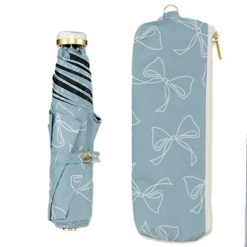 Ariel Wish日本晴雨兩用a.s.s.a甜美蝴蝶結折傘雨傘陽傘掛勾把手抗UV達99%以上黑膠內裏短折傘-天空藍現貨