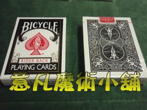 【意凡魔術小舖】原廠黑色808Bicycle (送花式撲克教學)魔術專賣店