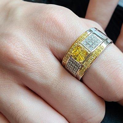 莫桑鑽寶黃鑽1克拉公主方小滿天星925...