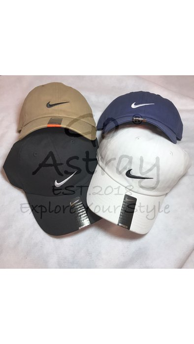 《Go Astray®》現貨 Nike Swoosh Cap刺繡 Logo老帽 黑/白/深藍/卡其 全新正品 可調式