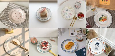【Livinggoods】超可愛8款韓風骨瓷少女心餐盤/盤子/平盤/蛋糕盤/點心盤/早餐盤 櫻桃 鬱金香 水果圖案