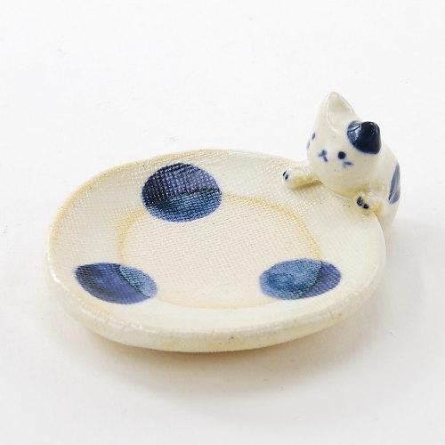 香氛 ◎ 日本 手工 和風 薰香盤 精油 貓 日本製 陶器 陶製