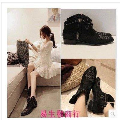 【易生發商行】釘短靴尖頭粗跟馬丁靴歐美真皮女靴女式短筒單靴側拉鏈F6