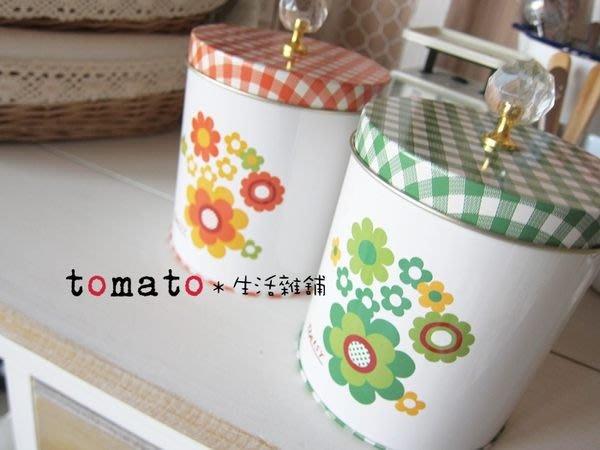 ˙TOMATO生活雜鋪˙日本進口雜貨雜誌刊載小花格紋水玉水鑽把手收納罐
