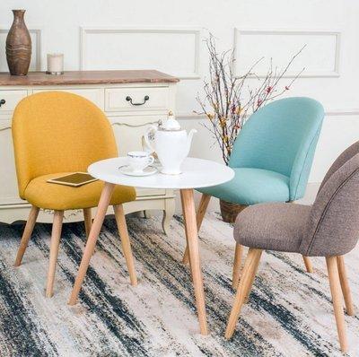『格倫雅』北歐簡約現代單人沙發椅實木布藝休閑椅餐椅洽談咖啡椅書桌椅子^1669