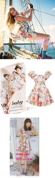 日本雜誌款花花飛袖蝴蝶結高腰短洋裝