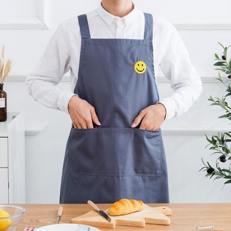 {免運-可開立發票}圍裙韓版時尚成人家用廚房純棉可愛男女式做飯圍腰工 【飛魚家飾】