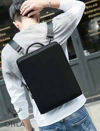 ☆歐拉雜貨屋☆韓版潮牌款簡約防潑水尼龍後背包書包14寸16寸電腦包男包禮物