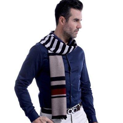 羊毛 圍 巾-商務休閒條紋色塊秋冬防寒男女披肩3色73ts14[獨家進口][米蘭精品]