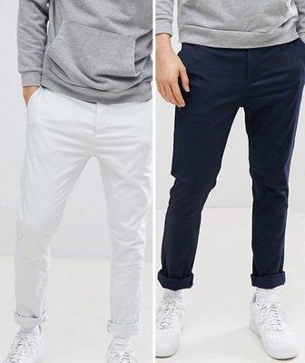 ◎美國代買◎ASOS歐版顯廋剪裁反摺褲口九分休閒長褲藍與冰石灰~二件一起賣~歐美街風~大尺碼