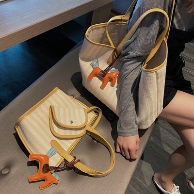 一件8折免運 帆布單肩大包包女新款潮正韓百搭大容量簡約時尚女手提洋氣包