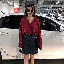 襯衫女2019春季新款時尚chic風純色西裝領V領中長款長袖襯衣百搭