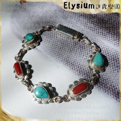 Elysium‧迷霧樂園 〈LTU001A〉尼泊爾‧花邊  封底 綠松石+珊瑚 925銀 手鍊/手環