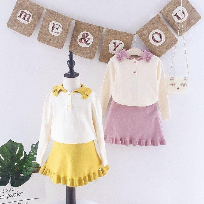 童裝  女童 春裝19寶寶毛衣套裝網紅 兒童   春秋裙子兩件套時髦
