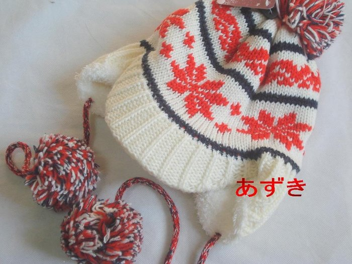 MIT製-雙層織加超柔軟內裡-雪花配色針織圖騰貝雷+遮耳飛行帽-白色[特價]