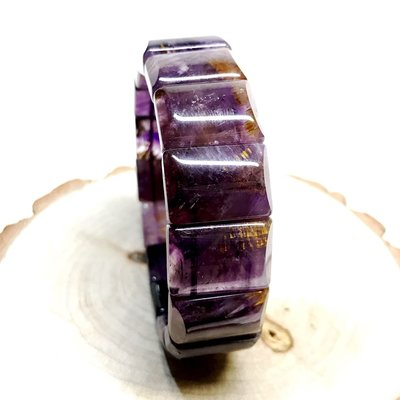 【收藏家】頂級天然老料紫鈦手排 晶體清透亮 收藏品等級 20mm/69g