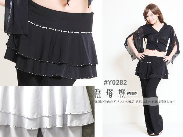@~薩瓦拉 : 黑/白_M~XL_Y0282_黑色銀珠滾邊_有裙不可拆水褲/蟑螂褲