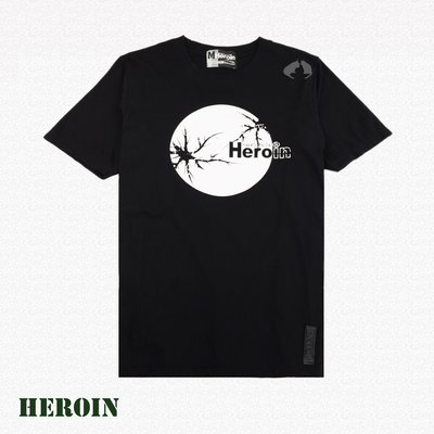 Heroin海洛因品牌 月亮圖樣 黑色 圖樣T ~阿法.伊恩納斯 文創 外銷歐美 不輸superdry 音樂祭 必備